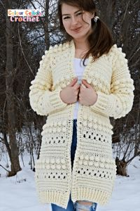 Crochet Cardigan Bobbles of Snow