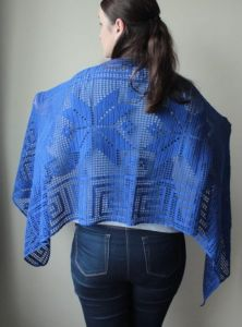 Electric Blue Filet Crochet Shawl