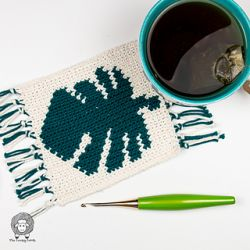 Monstera Leaf Crochet Mug Rug