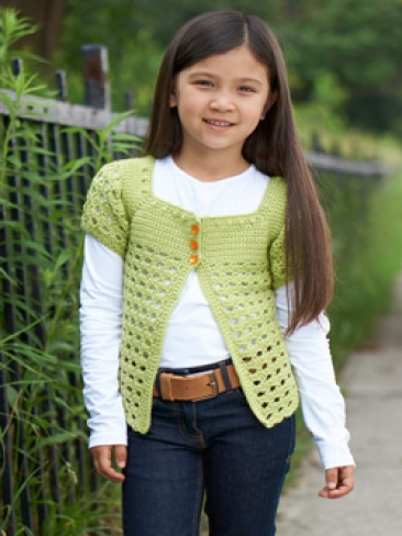 Free Crochet Pattern Little Girl Sweater : Crochet Patterns Galore - Girls Playground Cardigan