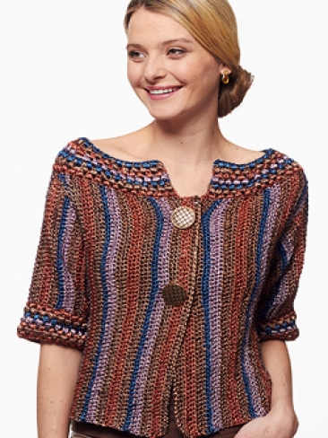 Crochet Patterns Galore - Metallic - Funky Stripes Cardigan