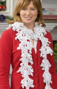 Falling Snowflakes Crochet Scarf