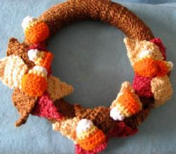 Large and small candy corn wreath
