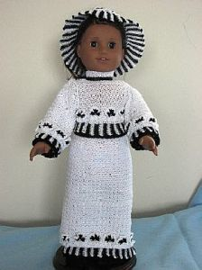 American girl doll black and white gown