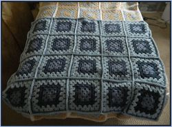 Baby Blue Traditional Granny Square Blanket