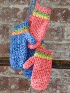 Crochet Striped Mittens
