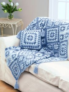 Crochet Granny Square Throw & Pillow