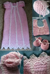 Pink Christening Set: Gown, Bonnet, Shoes & Bib
