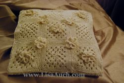 Granny Pillow Pattern with Crochet Flowers