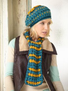 Sunflower Stripes Hat And Scarf Set