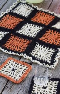 Spiderweb Coasters and Halloween Table Center