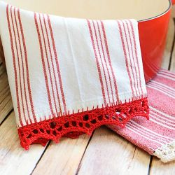 Crochet Edged Tea Towel