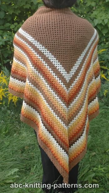 Crochet Patterns Galore - Autumnal Triangle Shawl
