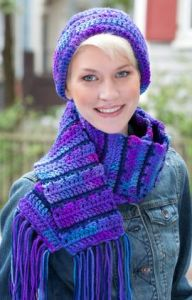 Jagged Lines Hat & Scarf Set
