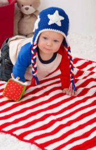 Patriotic Stripes Blanket & Hat