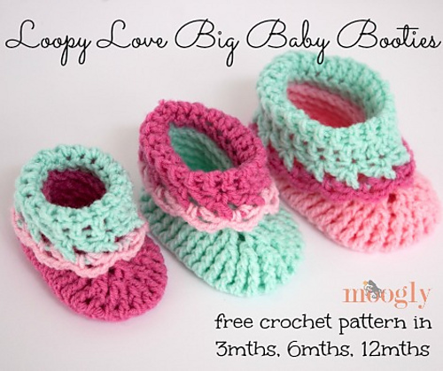 Crochet Patterns Galore Loopy Love Big Baby Booties