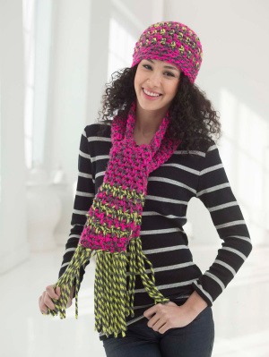 Free Crochet Patterns For Hats And Scarf Sets : Crochet Patterns Galore - Electric Mix Hat And Scarf Set