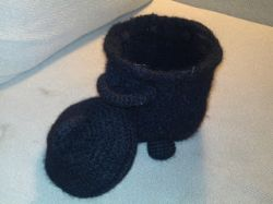 Crocheted & felted Witch's Cauldron