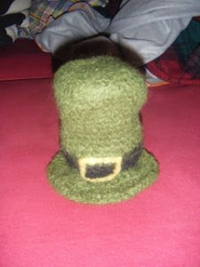 Crocheted & felted Leprechaun hat