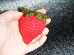 Crocheted strawberry