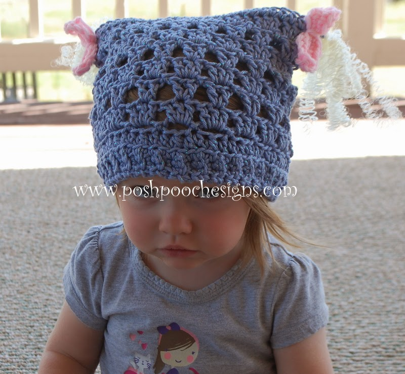 Crochet Patterns Galore Piggy Tail Childrens Hat Childrens