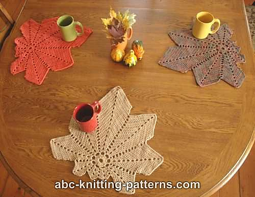 Crochet Patterns Galore Chestnut Leaf Table Runner And Placemats