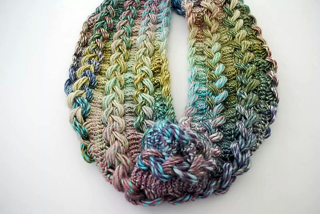Crochet Patterns Galore - Braided Hairpin Lace Infinity Scarf