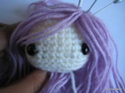 How to attach hair on amigurumi dolls