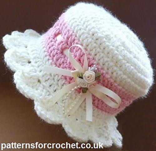 Crochet Baby Hat Pattern With Brim : Crochet Patterns Galore - Brimmed Baby Hat