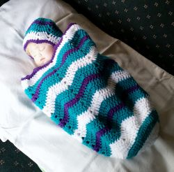Baby Cocoon and Hat in Chevron Stitch