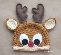 Crochet Rudolph the Reindeer Hat