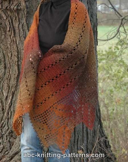 Crochet Patterns Galore Autumn Leaves Filet Crochet Shawl