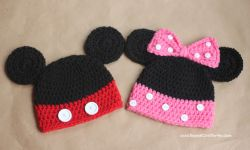 Mickey and Minnie Mouse Crochet Hat