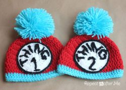 Thing 1 and Thing 2 Crochet Hats