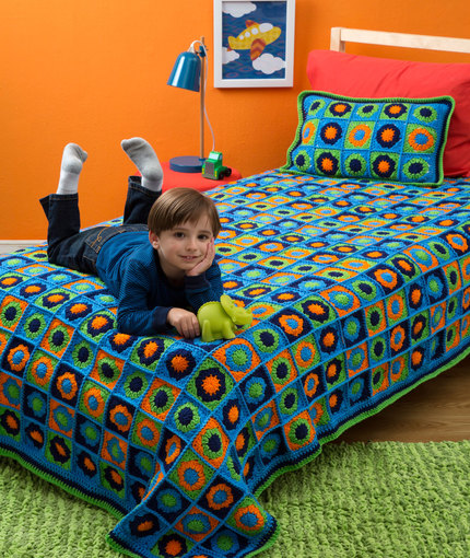 Crochet Patterns Galore Kids Twin Bed Afghan Pillow
