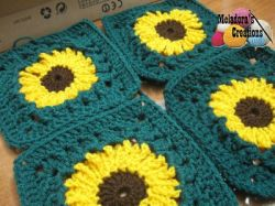 Crocheted Sunflower Granny Square