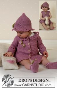 DROPS Baby Cardigan, Hat and Shoes