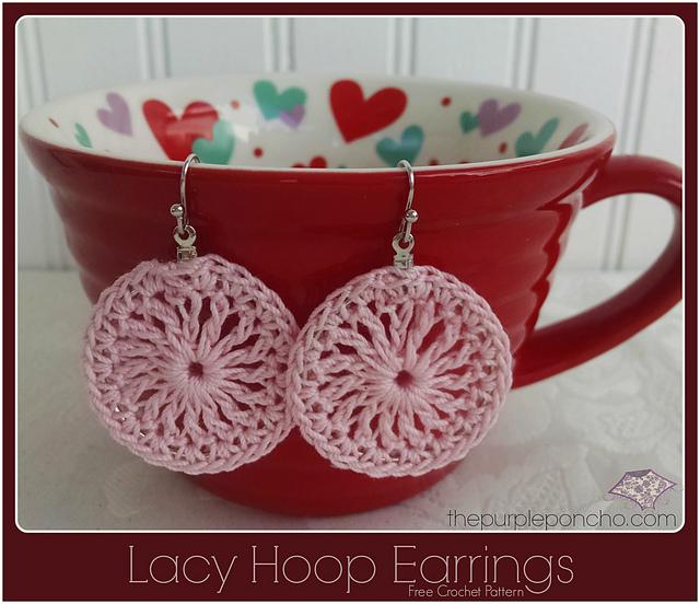 Crochet Patterns Galore : Crochet Patterns Galore - Lacy Hoop Earrings