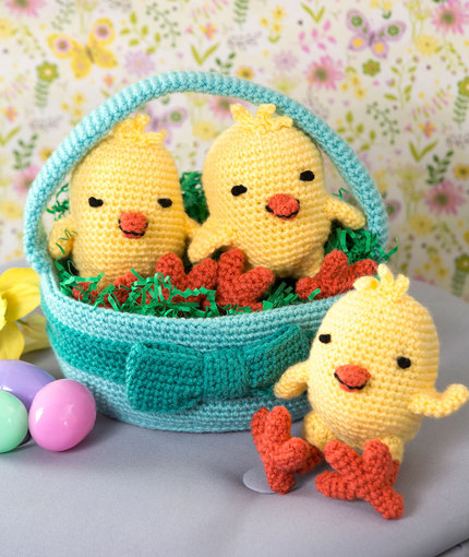 Crochet Patterns Galore Three Chicks In A Basket