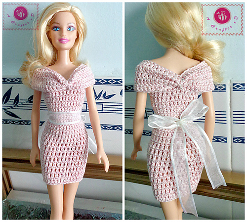 Crochet Patterns Galore Fashion Doll Off The Shoulder Dress