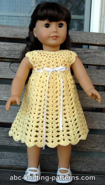 Crochet patterns galore american girl doll seashell summer dress