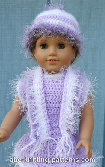 Crochet Patterns Galore American Girl Doll Fun Fur Hat And Scarf