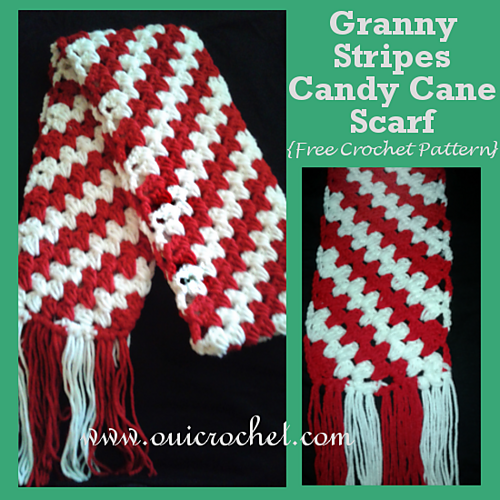 Crochet Patterns Galore Granny Stripes Candy Cane Scarf