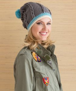Cabled Hat with Pompom