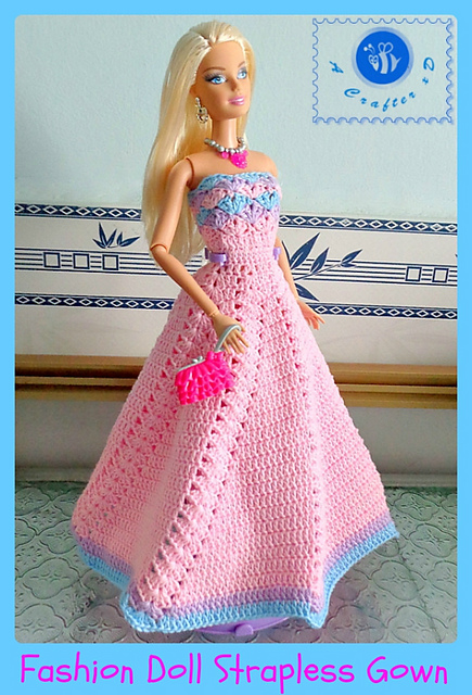 Crochet Patterns Galore Fashion Doll Strapless Gown