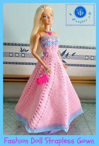 Fashion doll strapless gown