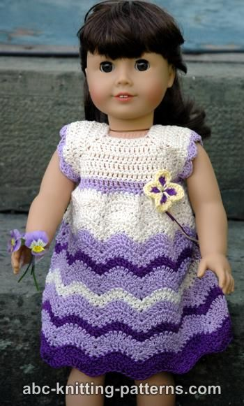 Free Vintage Knitting Patterns For Dolls Clothes : Crochet Patterns Galore - American Girl Doll Wisteria Chevron Dress
