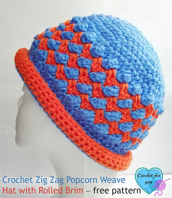 Zig Zag Popcorn Weave Hat