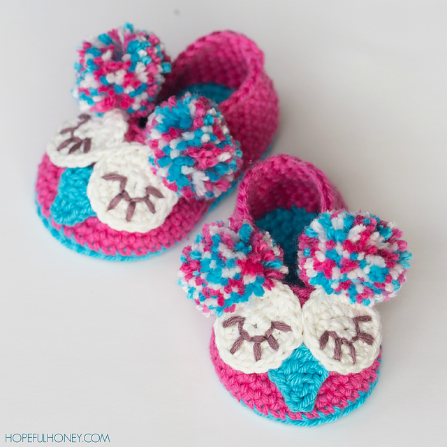Crochet Patterns Galore - Owl Baby Booties