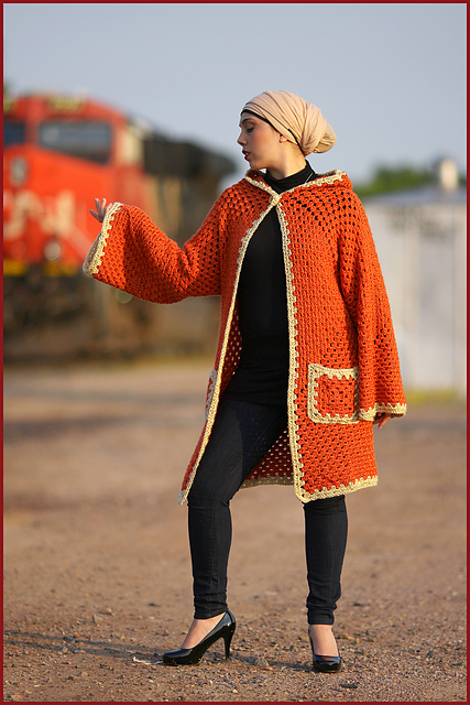 Crochet Patterns Galore - Hexagonal Hooded Cardigan